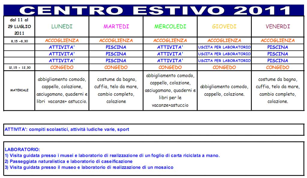 programma centro estivo 2011