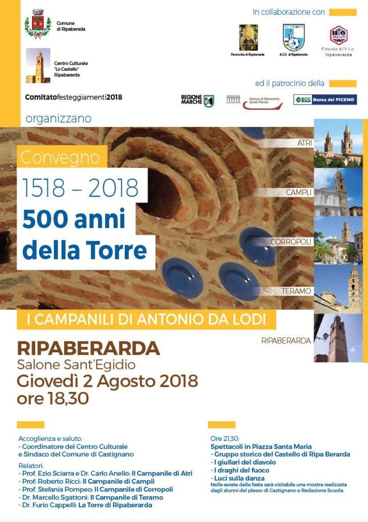 manifesto-Convegno sui campanili di Antonio da Lodi per i 500 anni della Torre di Ripaberarda
