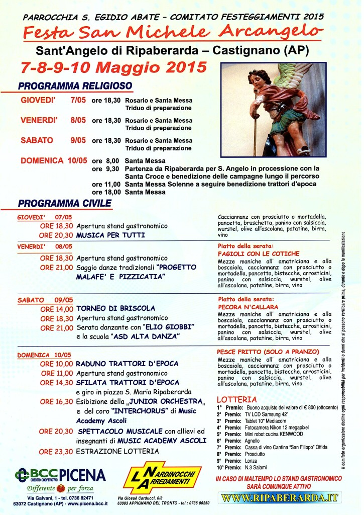 Programma della festa di Sant Angelo 2015 a Ripaberarda