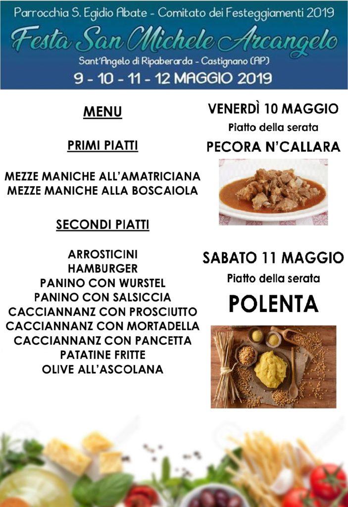 Ripaberarda Festa di San Michele Arcangelo 2019 - Menù