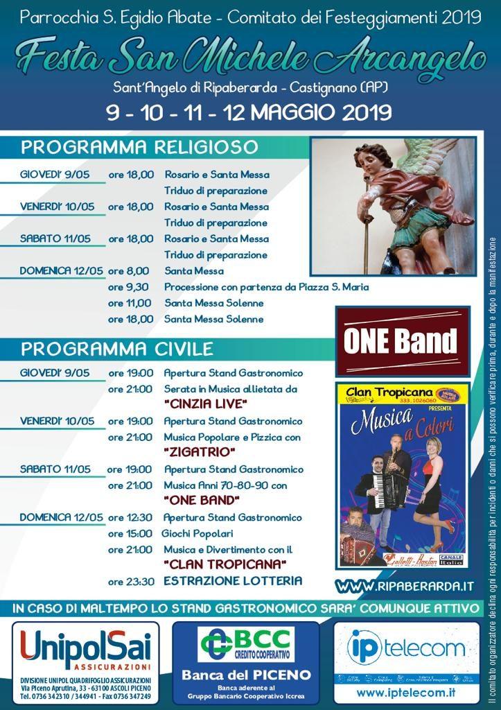Ripaberarda Festa di San Michele Arcangelo 2019 - Locandina della festa con programma