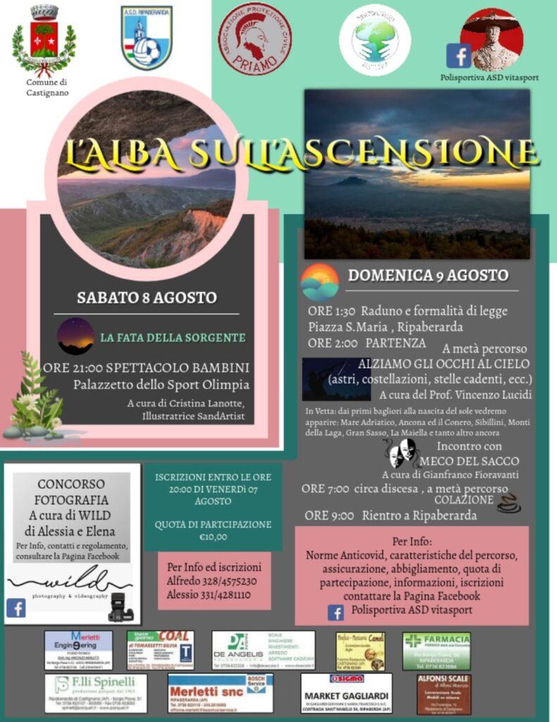 locandina eventi 8 e 9 agosto 2020 - Alba sull'Ascensione