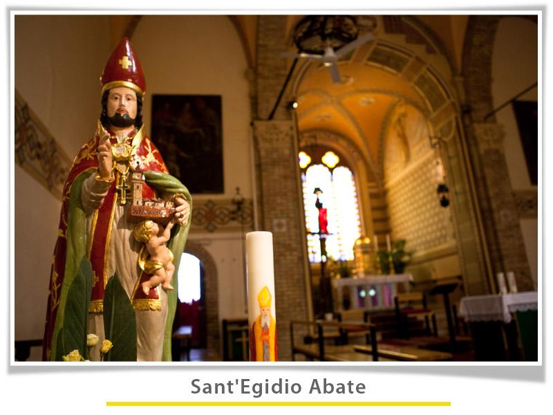 Foto della statua di Sant'Egidio Abate nella chiesa di Ripaberarda